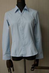 Высокое качество женщин формального рубашки управление износа дамы модель синий официальных футболка