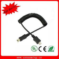Cabo de bobina de mola retrátil Mini5p para micro5p USB 2.0