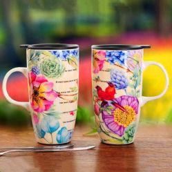 手塗りのコーヒー・マグの陶磁器のマグのギフト項目石器の手塗りの飲むマグ
