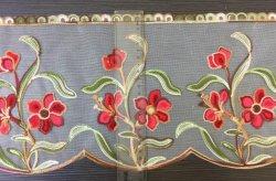 Crewel florales bordado en organza/Algodón cojín bordado, cubierta de la Almohada