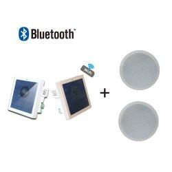 Canal 2 WiFi Android Mini 25W Bluetooth PA Home Audio Sistema de música de fundo no amplificador de montagem na parede com 2 PCS 6'' e o controlo remoto do altifalante de tecto