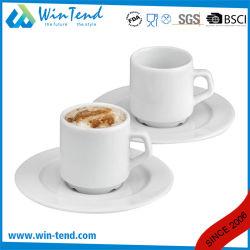 Venda por grosso de porcelana branca comercial xícara de café espresso e pires