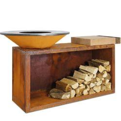 로그 상점을%s 가진 옥외 살아있는 Corten 강철 화재 구덩이 테이블 BBQ 석쇠