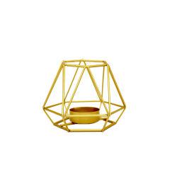 Or métal géométrique Tealight Chandeliers pièces maîtresses de la salle de séjour pour mariage