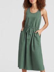 Fechar orgânicos personalizado programável Aplicar Sarjado chama Tring vestido de algodão com bolso