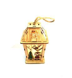 Corte láser LED Santa (pequeño) Linterna de la decoración de madera