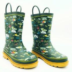 Natural de los muchachos de diseño de picnic al aire libre para niños botas botas de goma resistente al agua de lluvia