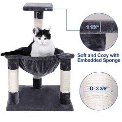호화로운 고양이 나무 및 침대를 가진 포스트를 긁어 콘도 키 큰 고양이
