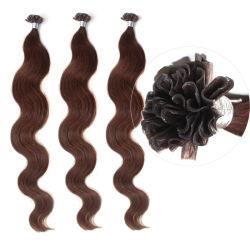 20 Polegadas Cor Castanha Virgem Cabelo brasileiro na ponta da unha extensões de cabelo