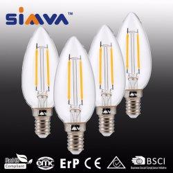 Simva LED 필라멘트 전구 캔들 C35 2W(25W 상당) 245lm 2200-6500K E27/E14 360도, CE 승인