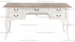 Nórdico antiguo mobiliario clásico de color marrón y blanco crema cinco cajones de madera maciza cómoda tabla inodoro