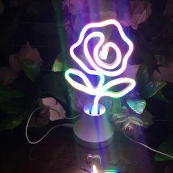 China-Fabrik, die Tisch-Motiv-Licht LED Neonlampe Rose herstellt