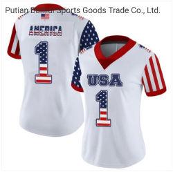 Venda por grosso novo design de elevada qualidade as mulheres personalizados de futebol Branco Jersey