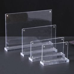 T Shape Clear Acrylic Magnetic Sign Holder 테이블 스탠드