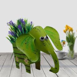 귀여운 녹색 영속성 메탈 코끼리 화분 동물로 정원 농가 봄 장식 장식 테이블 상판 보관