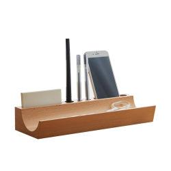 Telefone celular e porta-canetas de armazenamento de madeira para decoração de Desktop