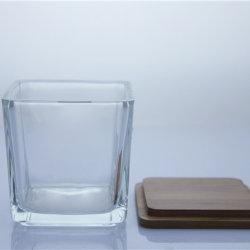 Alta qualidade de Vidro Quadrado suporte para velas com tampa de bambu
