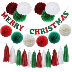 Comercio al por mayor Decoración de Navidad Colgante bola forma de panal de tirar la bola de flores colgar la bandera de la Navidad Navidad Sombrero Campana Libro de muñeco de nieve de la serie de la decoración de vacaciones