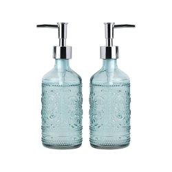 Les articles ménagers 12 once gaufré Distributeur de savon et de la Lotion de verre Flacons avec pompe en plastique (bleu)