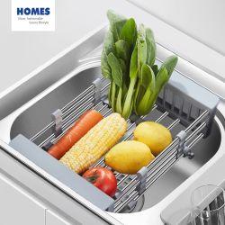 Küche-Gerät-Edelstahl-einziehbare Wannen-Abfluss-Zahnstangen-waschender Speicher-Gemüsekorb