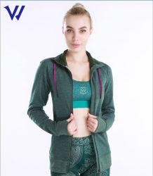 Snelt het Afgedrukte Embleem van de douane Dames op het Jasje van de Fitness van de Yoga van de Vrouwen van de Jasjes van de Sport van de Gymnastiek van de Vacht