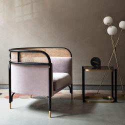 Hotel de estilo simples italiano tecido Mobiliário Sofá cadeira de madeira de Metal