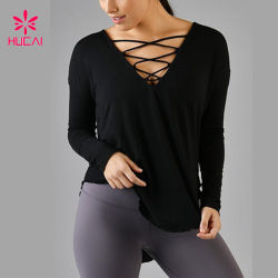 2020 New Ladies Sport Yoga Fitness Black Lace Up Crop 탑 긴팔