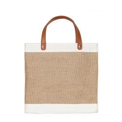 تصميم جديد حقائب الجوت الصديقة للبيئة مصنعي المعدات الأصلية مع PU مقابض جلدية