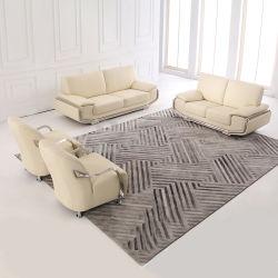 快適なクリーム色の家具トップ付きの革ソファーセット グレインレザー
