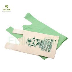 옥수수 전분 PLA Pbat의 후위 가능한 드로스트링 쓰레기 애완동물 폐기물 음식 인쇄 티셔츠 생분해성 플라스틱 쇼핑백