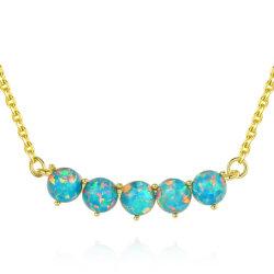 Elegante 925 Sterling Silver Gemstone Opal Colar Pendente