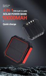 100% 확실한 수용량 10000mAh는 USB 인조 인간 유형 C 두 배 산출 입력 포트를 가진 태양 이동할 수 있는 비상사태 충전기를 방수 처리한다