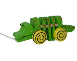 Speelgoed van de Krokodil van het Speelgoed van de trekkracht en van de Duw het Houten