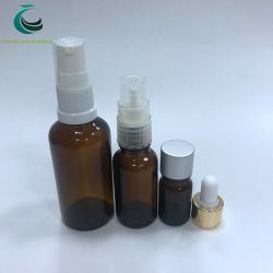 Bomba atomizadora crema para la botella de aceite esencial de vidrio ámbar