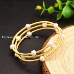 La moda Brazalete de perlas de agua dulce naturales hechos a mano mujer Bangle pulseras