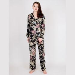 Hoogwaardige chiffon printed pyjama sets, dames satijnen pyjama sets, Sexy Nightwear
