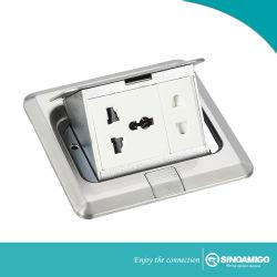 Plancher de béton les prises de courant des boîtes de plancher avec les prises et interrupteurs