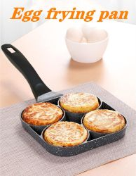 Four-Hole Sartén tortilla de huevos Jamón No Stick Sartenes No Desayuno Oil-Smoke Non-Stick Sartén de cocina