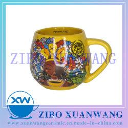 Forme ronde en céramique de couleur jaune Mug tasse à café avec café de la marque d'impression complet