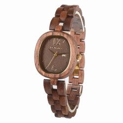 Armbanduhr der antike Art-erstklassige hölzerne Dame-Quartz mit Dattel-Merkmal