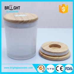 白い絵画タケ木のふたが付いているガラス蝋燭ホールダー