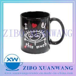 11oz 330ml negro de cerámica esmaltada Taza con el Día de San Valentín I Love U Glitter Impresión de calcomanía cerámica taza de café de regalo