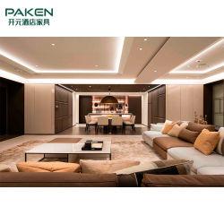 مزيج من الجلد ذو التصميم الحديث والقماش وأريكة طعام رخام طبيعى طاولة غرفة المعيشة في الفيلا