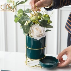 Cilindro verde-escuro portátil nórdicos Plantadeira de cerâmica com Pires e o suporte Gold