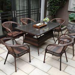 Открытый дворик плетеной мебели и Plastic-Wood сад диван устанавливает