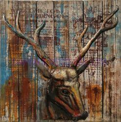 Decoração de metal pintura a óleo Wall Art Elk Cabeça de ferro e galhadas 3D Dimension