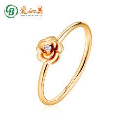 최신유행 로즈 모양 여자의 반지 14K 실제적인 금 지르콘 반지