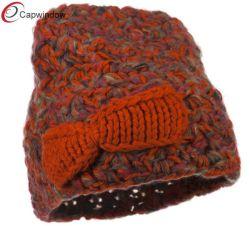 Arco de mulheres laranja misturar acrílico Fios Beanie Hat