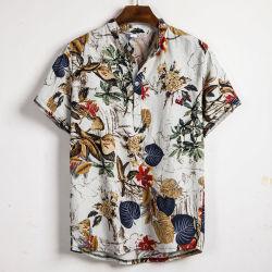 Hombres camiseta manga corta de ropa de verano, Casual suelta suelta florales