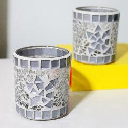 Simples Silver-White modernos feitos à mão em vidro mosaico castiçal titular para Mulheres Dom